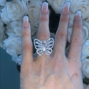 Butterfly Sterling Silver CZ Cocktail Ring